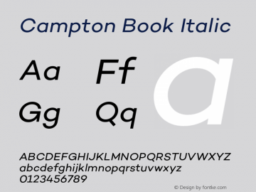 Campton Book Italic Version 1.000;PS 001.000;hotconv 1.0.70;makeotf.lib2.5.58329图片样张