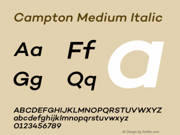 Campton Medium Italic Version 1.000;PS 001.000;hotconv 1.0.70;makeotf.lib2.5.58329图片样张