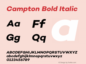 Campton Bold Italic Version 1.000;PS 001.000;hotconv 1.0.70;makeotf.lib2.5.58329图片样张