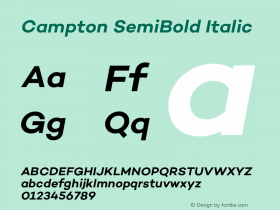 Campton SemiBold Italic Version 1.000;PS 001.000;hotconv 1.0.70;makeotf.lib2.5.58329图片样张