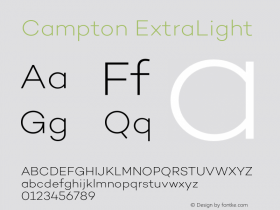 Campton ExtraLight Version 1.000;PS 001.000;hotconv 1.0.70;makeotf.lib2.5.58329图片样张