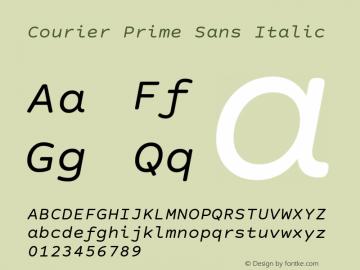 Courier Prime Sans Italic Version 3.020 Font Sample