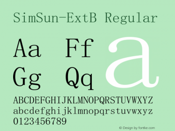 SimSun-ExtB Version 5.01;June 8, 2018;FontCreator 11.0.0.2407 32-bit图片样张