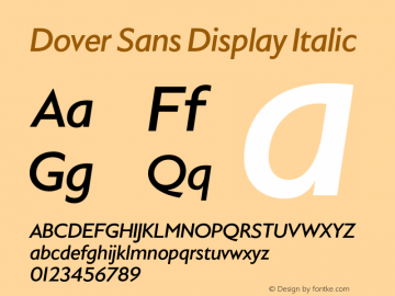 DoverSansDisplay-Italic Version 1.0 | wf-rip DC20180410图片样张