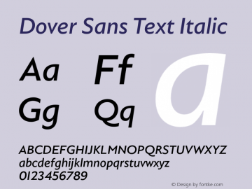 DoverSansText-Italic Version 1.0 | wf-rip DC20180410图片样张