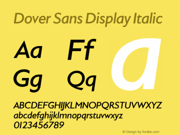 Dover Sans Display Italic Version 1.000;PS 1.0;hotconv 16.6.51;makeotf.lib2.5.65220图片样张