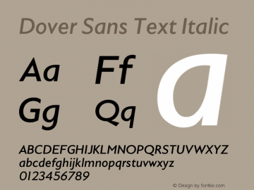 Dover Sans Text Italic Italic Version 0.000;PS 0.0;hotconv 1.0.72;makeotf.lib2.5.5900图片样张