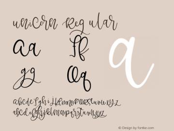 Unicorn Regular Version 1.00 2017 Font Sample
