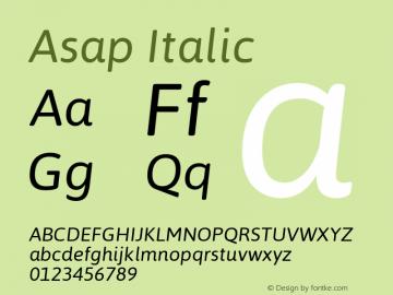 Asap Italic Version 1.001图片样张