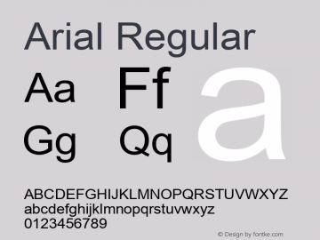 Arial MS core font:V2.00图片样张