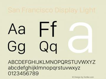 San Francisco Display Light Version 1.00;May 29, 2018;FontCreator 11.5.0.2427 64-bit图片样张