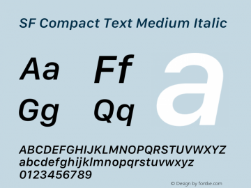 SF Compact Text Medium Italic 13.0d1e25图片样张