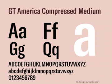 GT America Compressed Medium Version 5.001;PS 005.001;hotconv 1.0.88;makeotf.lib2.5.64775图片样张