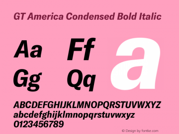 GT America Condensed Bold Italic Version 4.001;PS 004.001;hotconv 1.0.88;makeotf.lib2.5.64775图片样张