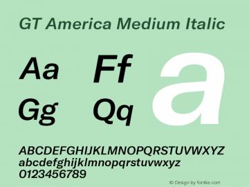 GT America Medium Italic Version 4.001;PS 004.001;hotconv 1.0.88;makeotf.lib2.5.64775图片样张