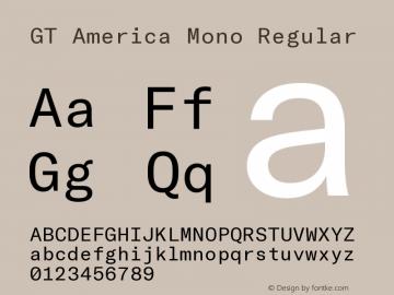 GT America Mono Regular Version 2.001;PS 002.001;hotconv 1.0.88;makeotf.lib2.5.64775图片样张