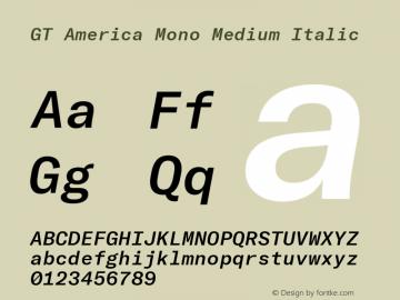 GT America Mono Medium Italic Version 2.001;PS 002.001;hotconv 1.0.88;makeotf.lib2.5.64775图片样张