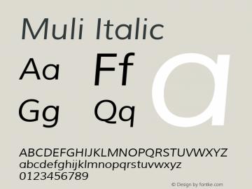 Muli Italic Version 1.000图片样张