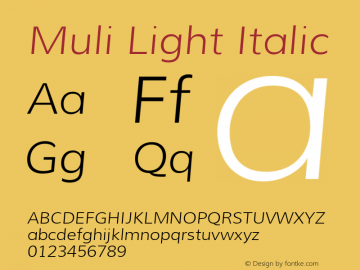 Muli Light Italic Version 1.000图片样张