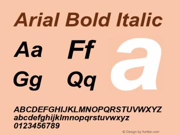 Arial Bold Italic Version 5.22图片样张