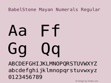 BabelStone Mayan Numerals Version 11.000 June 09, 2018图片样张