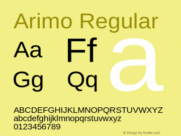 Arimo Regular Version 1.23图片样张