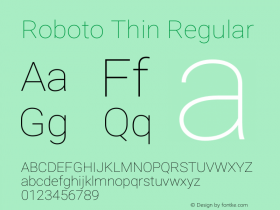 Roboto Thin Version 2.137; 2017图片样张