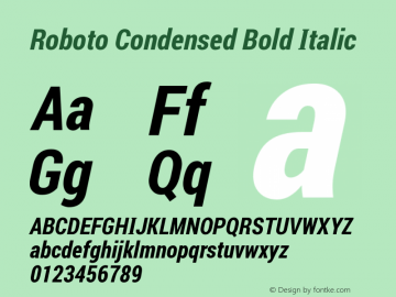 Roboto Condensed Bold Italic Version 1.00 August 20, 2016, initial release图片样张