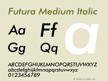 Futura Medium Italic 2.0-1.0 Font Sample