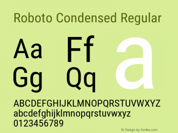 Roboto Condensed Version 2.137; 2017图片样张