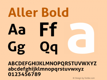 Aller Bold Version 1.00图片样张