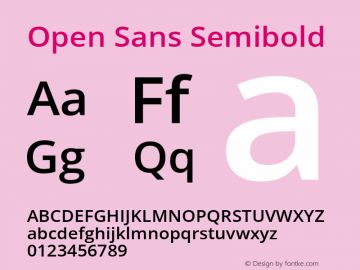 Open Sans Semibold Regular Version 1.10图片样张
