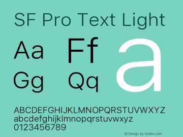 SF Pro Text Light 13.0d1e33图片样张