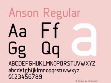 Anson Regular Version 1.001;PS 001.001;hotconv 1.0.56;makeotf.lib2.0.21325图片样张
