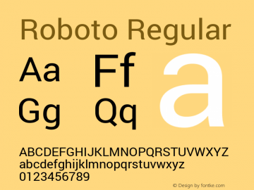 Roboto Regular Version 1.100141; 2013图片样张