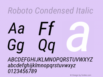 Roboto Condensed Italic Version 2.137; 2017图片样张