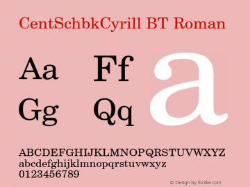 CentSchbkCyrill BT Roman Version 2.00 Bitstream Cyrillic Set图片样张
