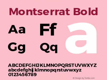 Montserrat Bold Version 1.00 May 20, 2016, initial release图片样张