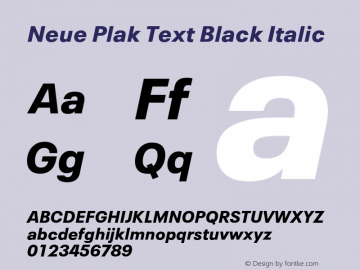 Neue Plak Text Black Italic Version 1.00, build 10, s3图片样张