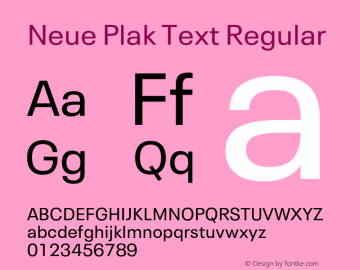 Neue Plak Text Regular Version 1.00, build 10, s3图片样张