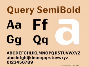 Query SemiBold Version 1.00;July 11, 2018;FontCreator 11.5.0.2427 64-bit图片样张