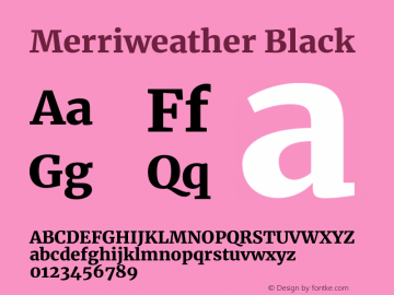 Merriweather Black Version 2.002;PS 002.002;hotconv 1.0.88;makeotf.lib2.5.64775图片样张