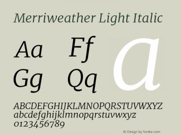 Merriweather Light Italic Version 2.002;PS 002.002;hotconv 1.0.88;makeotf.lib2.5.64775图片样张