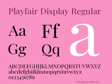 Playfair Display Regular Version 1.200; ttfautohint (v1.6)图片样张