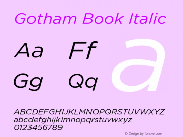 Gotham-BookItalic Version 1.200图片样张