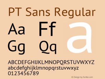 PT Sans Version 2.003W OFL图片样张