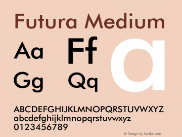Futura Medium 003.001 Font Sample
