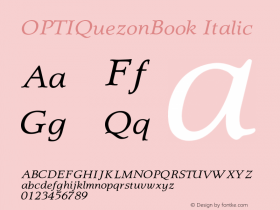 OPTIQuezonBook-Italic 001.001图片样张
