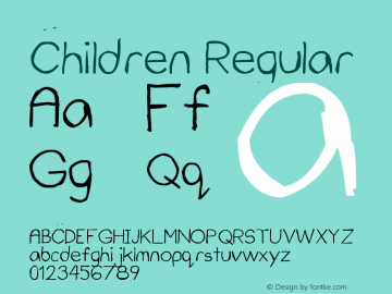Children Version 1.00 March 9, 2009, initial release, www.yourfonts.com图片样张