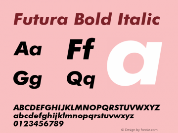 Futura Bold Italic 003.001 Font Sample
